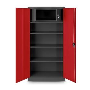 JAN NOWAK model TOMASZ biurowa szafa metalowa na akta: antracytowo-czerwona