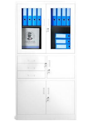 JAN NOWAK model FILIP biurowa szafa metalowa z sejfem na akta i dokumenty: biała