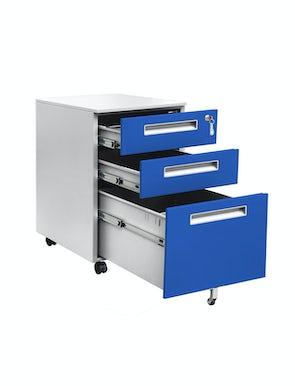 JAN NOWAK model JUSTYNA metalowy kontener pod biurko: szaro-niebieski
