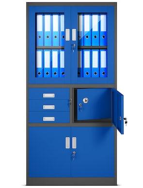 JAN NOWAK model FILIP biurowa szafa metalowa z sejfem na akta i dokumenty: antracytowo-niebieska