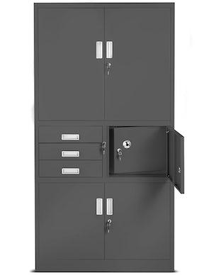 JAN NOWAK model FILIP II biurowa szafa metalowa z sejfem na akta i dokumenty: antracytowa