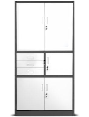 JAN NOWAK model FILIP II biurowa szafa metalowa z sejfem na akta i dokumenty: antracytowo-biała