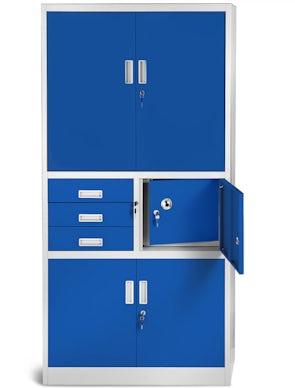 JAN NOWAK model FILIP II biurowa szafa metalowa z sejfem na akta i dokumenty: szaro-niebieska