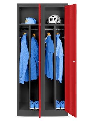 JAN NOWAK model KACPER szafa socjalna BHP ubraniowa czterokomorowa antracytowo-czerwona