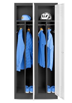 JAN NOWAK model KACPER szafa socjalna BHP ubraniowa czterokomorowa antracytowo-biała