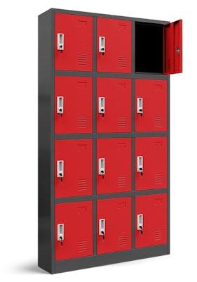 JAN NOWAK model MARCIN skrytkowa szafa socjalna BHP śniadaniowa antracytowo-czerwona