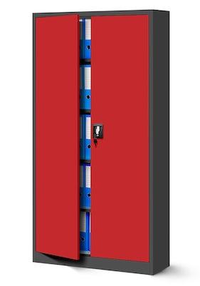 JAN NOWAK model JAN biurowa szafa metalowa na akta: antracytowo-czerwona