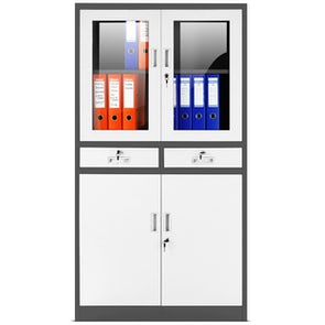 JAN NOWAK model EDMUND biurowa przeszklona szafa metalowa na akta z szufladami antracytowo-biała