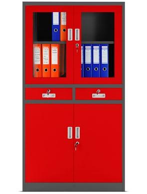 JAN NOWAK model EDMUND biurowa przeszklona szafa metalowa na akta z szufladami antracytowo-czerwona