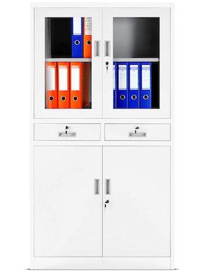 JAN NOWAK model EDMUND biurowa przeszklona szafa metalowa na akta z szufladami biała