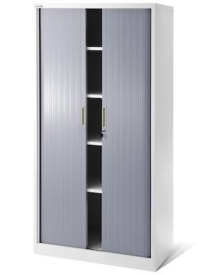 JAN NOWAK model DAMIAN metalowa szafa biurowa na akta z roletą: biało-szara
