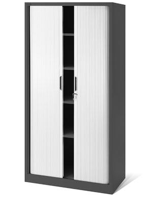 JAN NOWAK model DAMIAN metalowa szafa biurowa na akta z roletą: antracytowo-biała