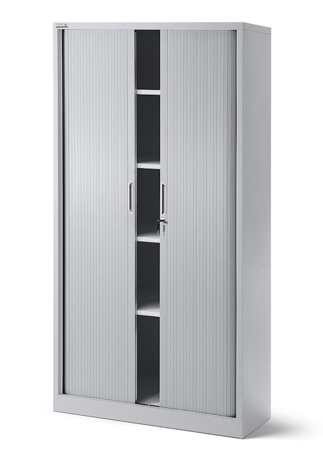 JAN NOWAK model DAMIAN metalowa szafa biurowa na akta z roletą: szara