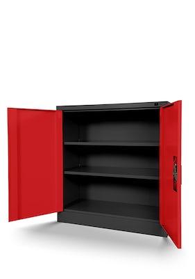 JAN NOWAK model BEATA metalowa szafka z drzwiami: antracytowo-czerwona