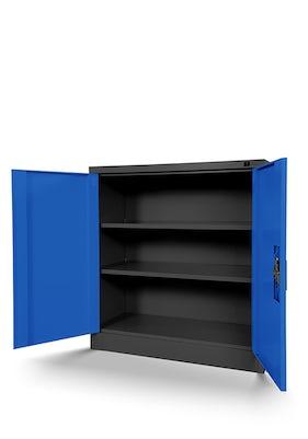 JAN NOWAK model BEATA metalowa szafka z drzwiami: antracytowo-niebieska