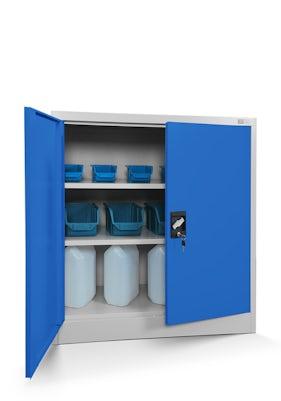 JAN NOWAK model BEATA metalowa szafka z drzwiami: szaro-niebieska