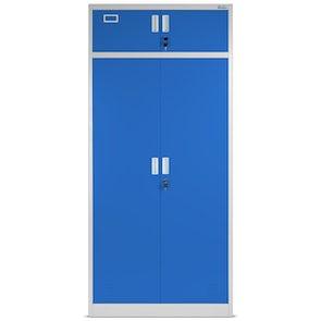 JAN NOWAK model BORYS wielokomorowa szafa socjalna z miejscem na ubrania szaro-niebieska