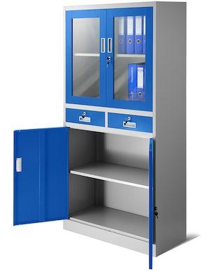 JAN NOWAK model EDMUND biurowa przeszklona szafa metalowa na akta z szufladami szaro-niebieska