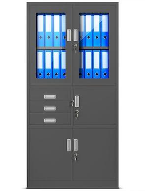 JAN NOWAK model FILIP biurowa szafa metalowa z sejfem na akta i dokumenty: antracytowa