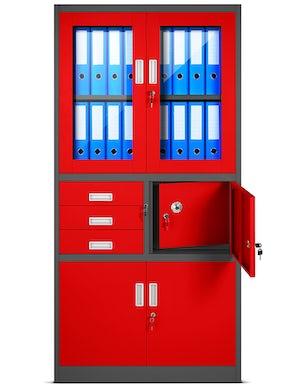 JAN NOWAK model FILIP biurowa szafa metalowa z sejfem na akta i dokumenty: antracytowo-czerwona