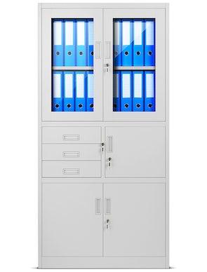 JAN NOWAK model FILIP biurowa szafa metalowa z sejfem na akta i dokumenty: szara