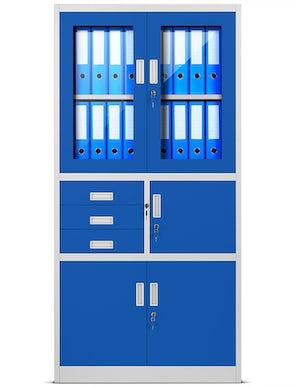JAN NOWAK model FILIP biurowa szafa metalowa z sejfem na akta i dokumenty: szaro-niebieska