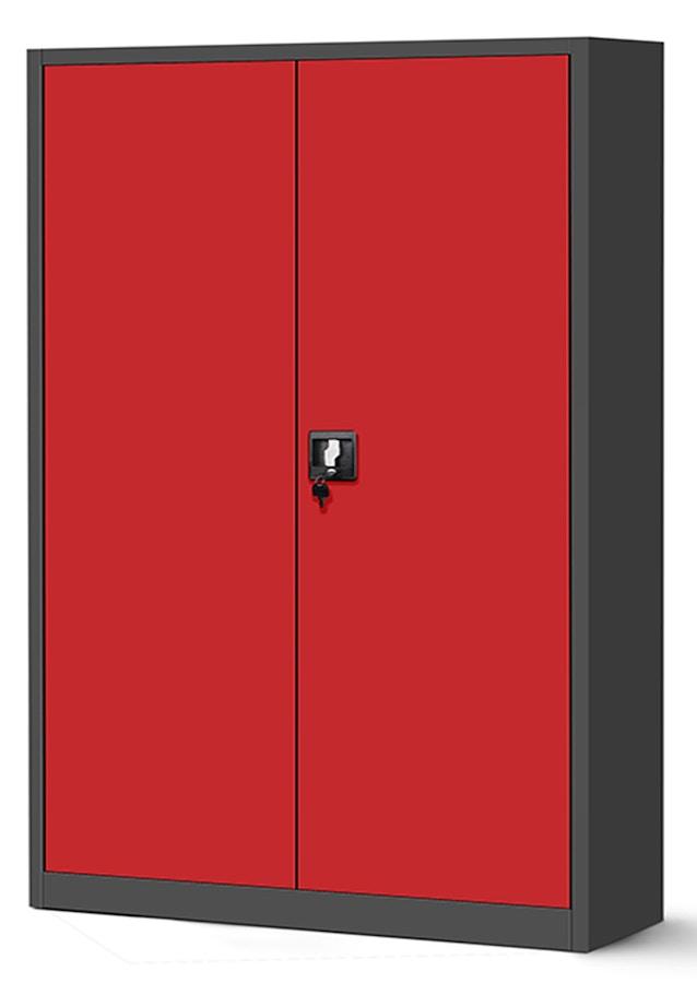 JAN NOWAK model JAN II biurowa szafa metalowa na akta: antracytowo-czerwona