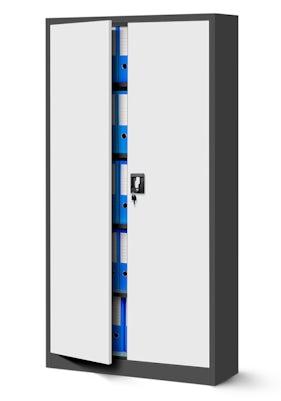 JAN NOWAK model JAN biurowa szafa metalowa na akta: antracytowo-biała