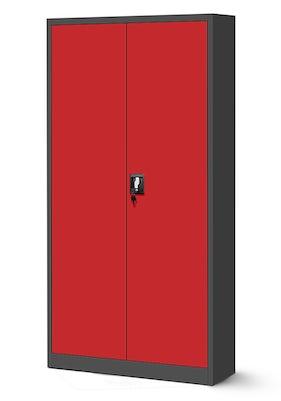 JAN NOWAK model JAN H biurowa szafa metalowa na akta: antracytowo-czerwona