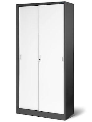 JAN NOWAK model KUBA biurowa szafa metalowa z drzwiami przesuwnymi: antracytowo-biała