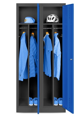 JAN NOWAK model KACPER szafa socjalna BHP ubraniowa czterokomorowa antracytowo-niebieska