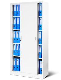 JAN NOWAK model KUBA biurowa szafa metalowa z drzwiami przesuwnymi: biała