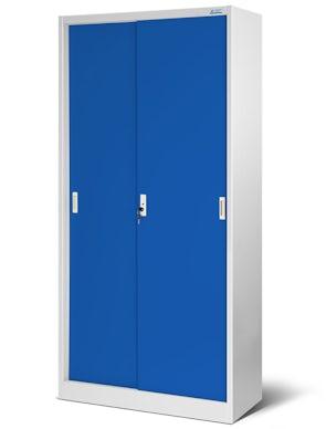 JAN NOWAK model KUBA biurowa szafa metalowa z drzwiami przesuwnymi: szaro-niebieska