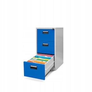 JAN NOWAK model SARA V3 metalowa szafa kartotekowa szaro-niebieska