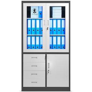 JAN NOWAK model WIOLA biurowa przeszklona szafa metalowa na akta z szufladami: antracytowo-biała