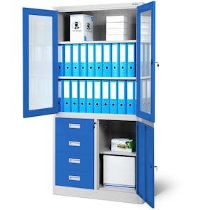 JAN NOWAK model WIOLA biurowa przeszklona szafa metalowa na akta z szufladami: szaro-niebieska
