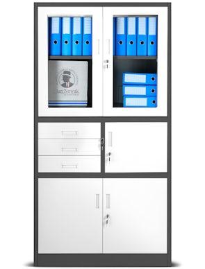 JAN NOWAK model FILIP biurowa szafa metalowa z sejfem na akta i dokumenty: antracytowo-biała