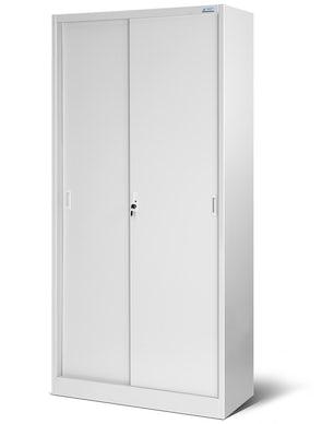 JAN NOWAK model KUBA biurowa szafa metalowa z drzwiami przesuwnymi: szara