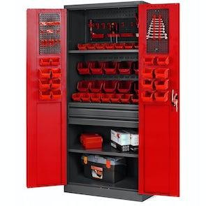 JAN NOWAK model SZYMON warsztatowo-narzędziowa szafa metalowa: antracytowo-czerwona