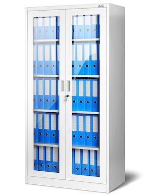 JAN NOWAK model AMELIA biurowa przeszklona szafa metalowa na akta biała