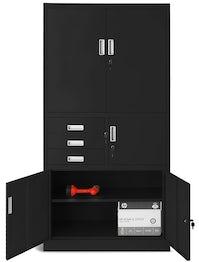 JAN NOWAK model FILIP II biurowa szafa metalowa z sejfem na akta i dokumenty: czarna