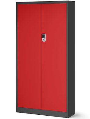 JAN NOWAK model DANIEL biurowa szafa metalowa na akta: antracytowo-czerwona