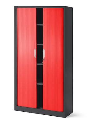 JAN NOWAK model DAMIAN metalowa szafa biurowa na akta z roletą: antracytowo-czerwona