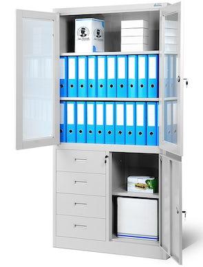 JAN NOWAK model WIOLA biurowa przeszklona szafa metalowa na akta z szufladami: szara