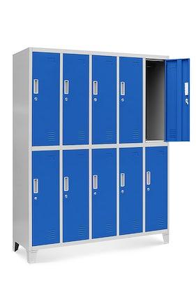JAN NOWAK model BARTEK szafa socjalna ubraniowa 10-drzwiowa szaro-niebieska