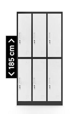 JAN NOWAK model IGOR szafa socjalna BHP ubraniowa 6-drzwiowa antracytowo-biała