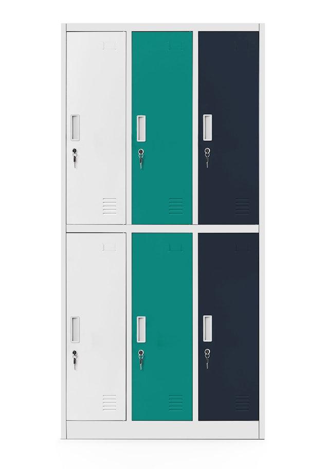 JAN NOWAK model IGOR szafa socjalna ubraniowa 6-drzwiowa wielokolorowa