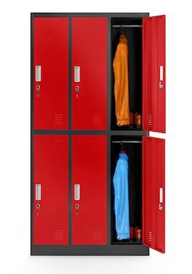 JAN NOWAK model IGOR szafa socjalna ubraniowa 6-drzwiowa antracytowo-czerwona