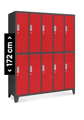 JAN NOWAK model BARTEK szafa socjalna BHP ubraniowa 10-drzwiowa antracytowo-czerwona