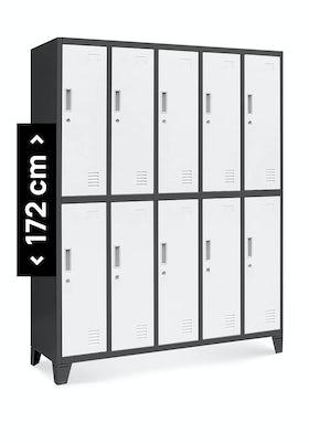 JAN NOWAK model BARTEK szafa socjalna ubraniowa 10-drzwiowa antracytowo-biała